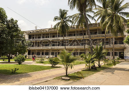 Stock Photography of Tuol Sleng Genocide Museum, west wing.