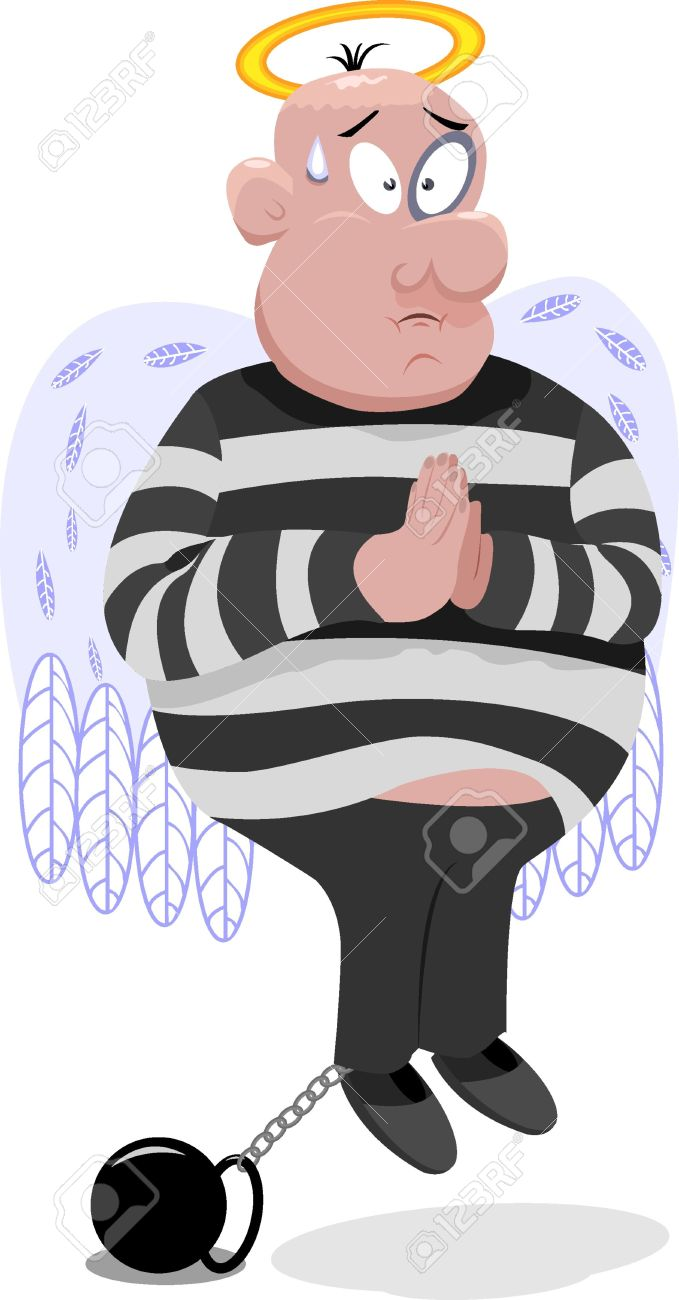 Innocent Criminal With Wings And Nimbus Royalty Free Cliparts.