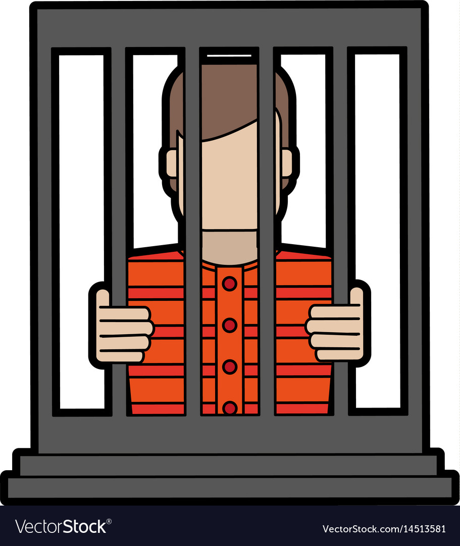 Male prisoner behind bars icon image.