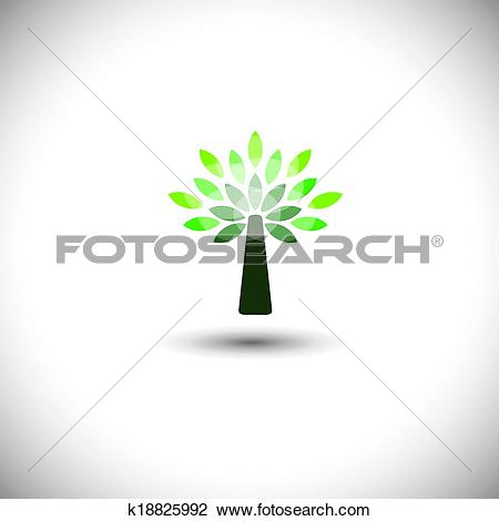 Clipart of stylized vector tree icon with green leaves.