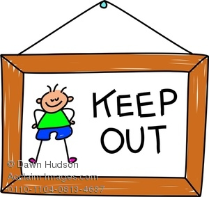 Clipart Image of A Little Boys KEEP OUT Sign.