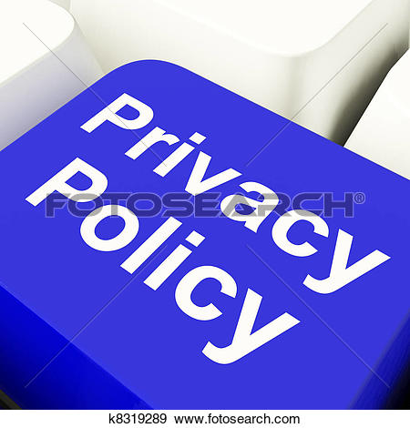 Stock Photograph of Privacy Policy Computer Key In Blue Showing.