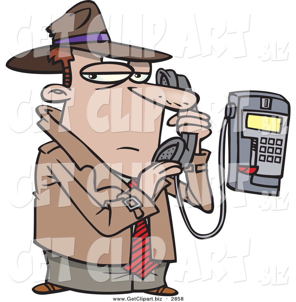Clip Art of a Cucasian Undercover Private Eye Detective Talking.