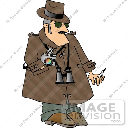 Private Eye Detective Man With Binoculars and a Camera Clipart.
