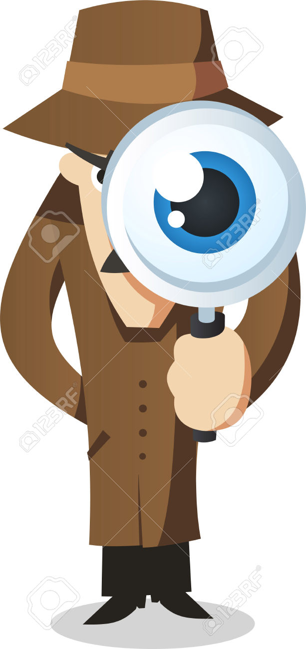 Private Eye With Magnifying Glass. Royalty Free Cliparts, Vectors.