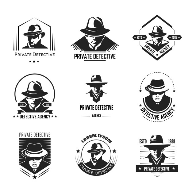 Private detective promotional monochrome logo with man in.