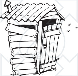Clipart Black And White Stinky Outhouse Privy.
