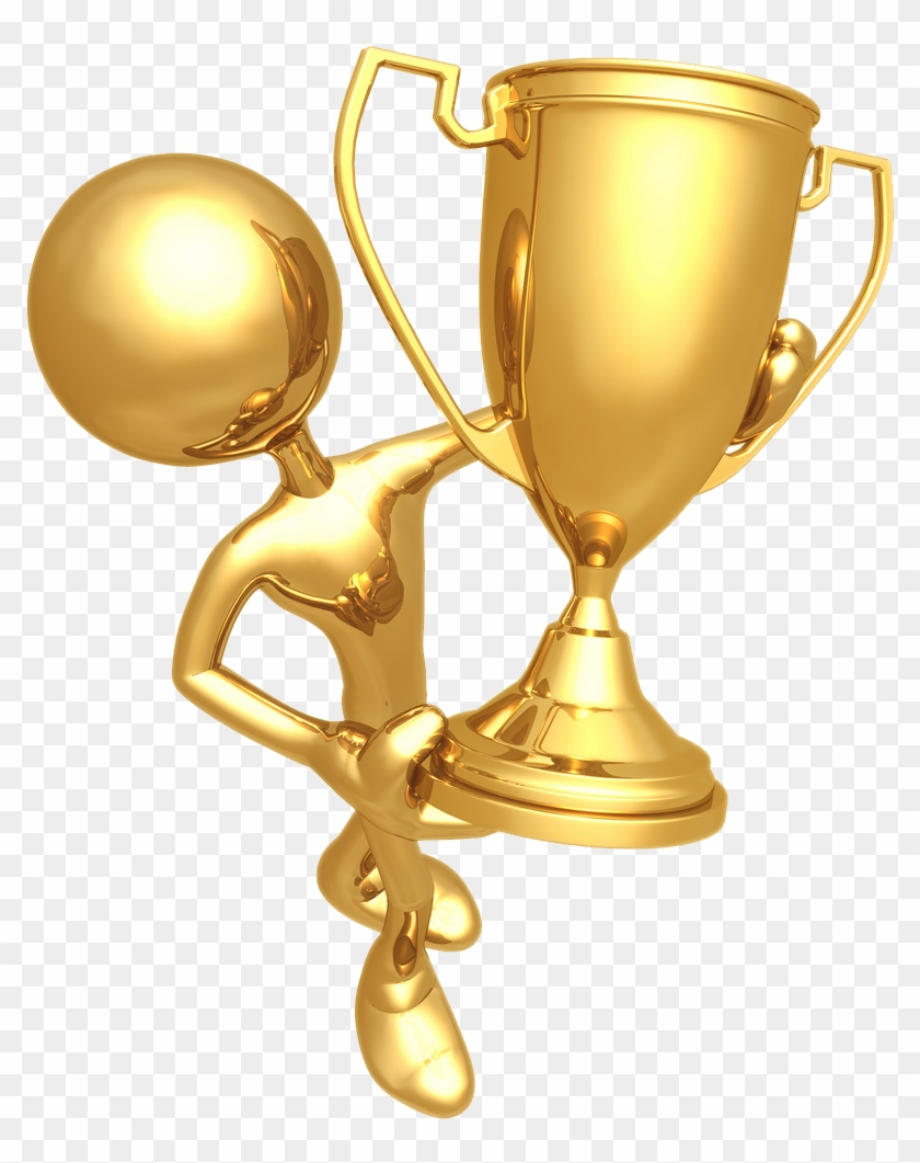 Golden Prize Cup With Gold Statue Png.