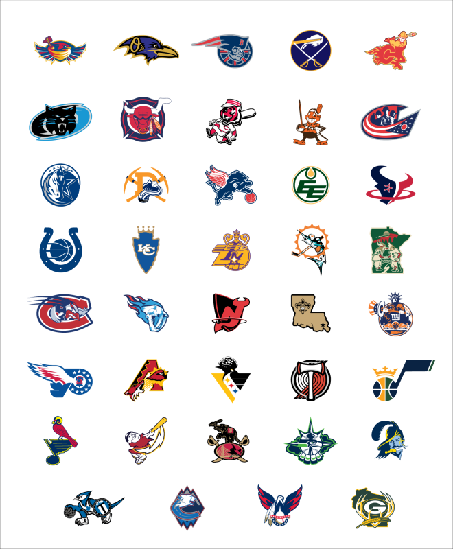 NFL, MLB, NHL, NBA logo mashups for respective cities (photo.