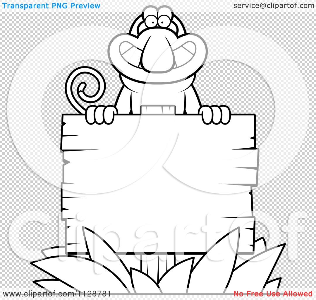 Cartoon Clipart Of An Outlined Proboscis Monkey Behind A Wooden.