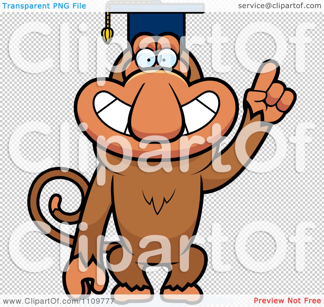 Clipart Proboscis Monkey Professor Wearing A Cap.