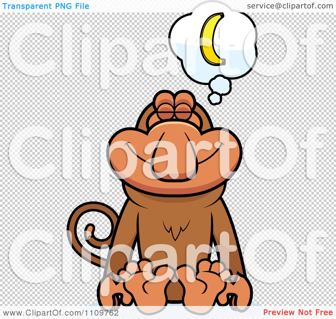 Clipart Proboscis Monkey Daydreaming of Bananas.