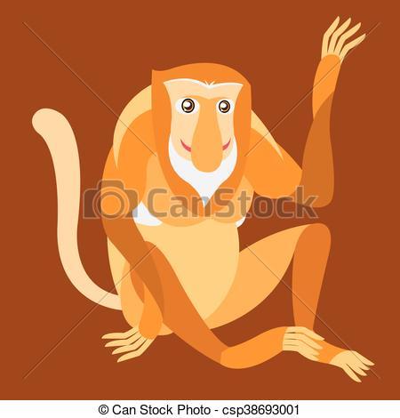 Vector Clipart of Proboscis Monkey. Vector illustration.