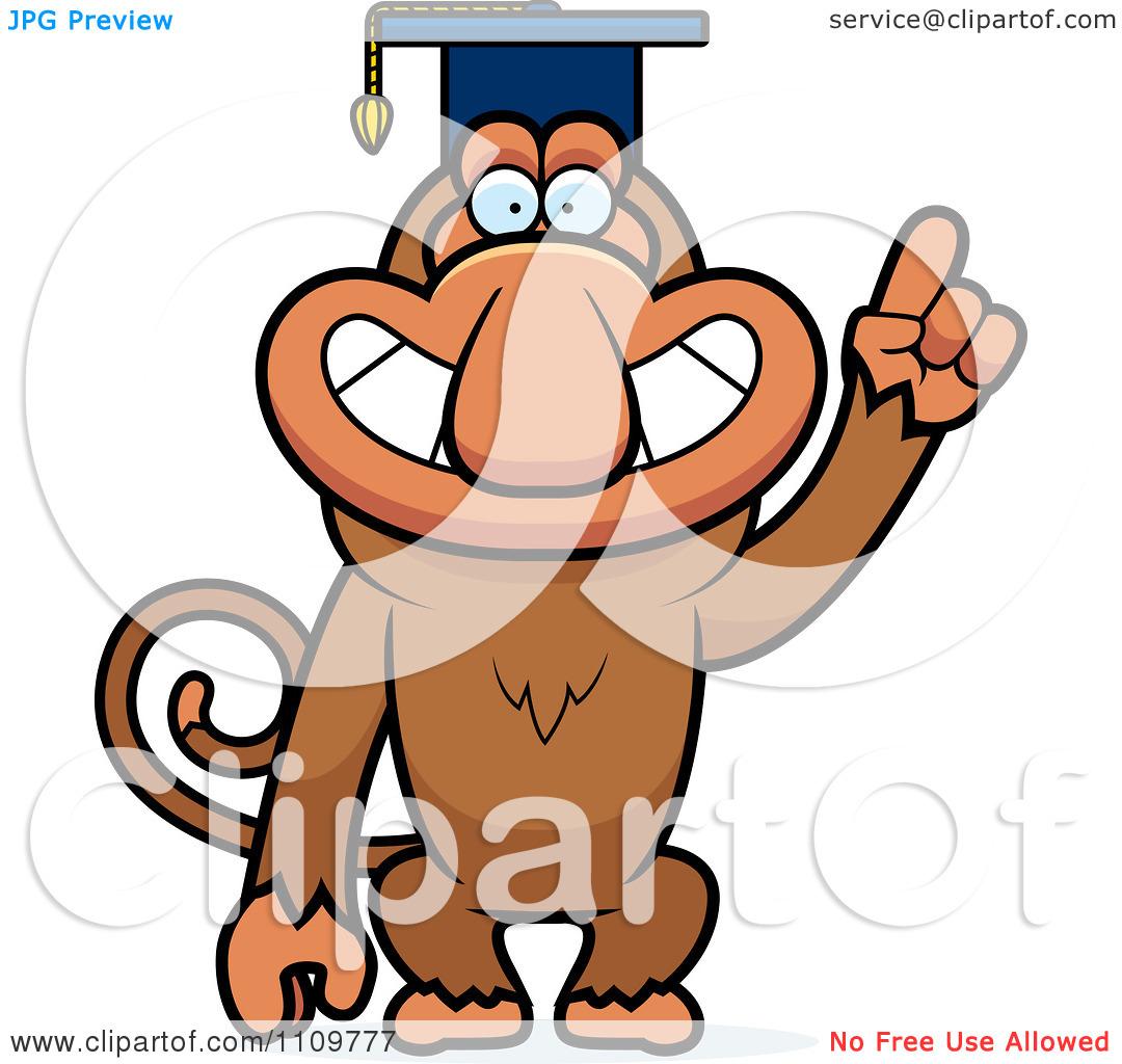 Clipart Proboscis Monkey Professor Wearing A Cap.