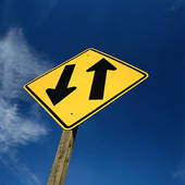 Stock Photo of road sign, proceed with extra caution, traktor.