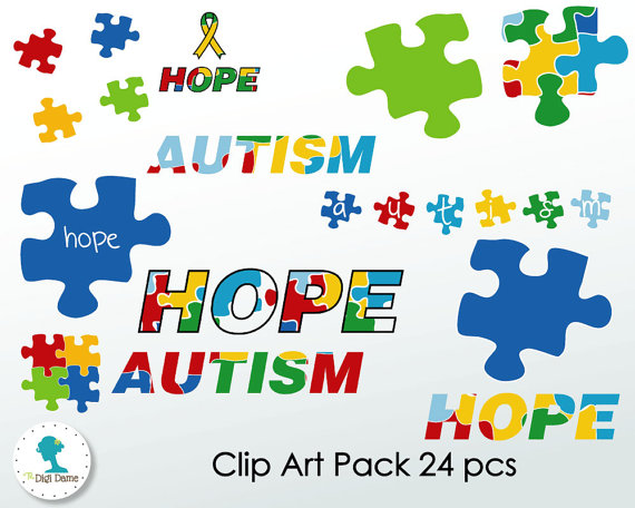 Autism Hope Digital Scrapbooking Clip Art Proceeds to by digidame.