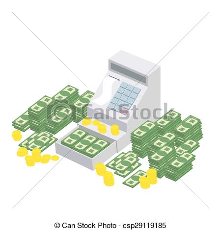 Vector of Open Cash Register Machine with a lot of money. Seller.