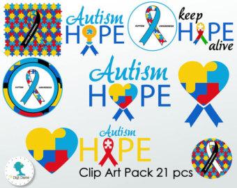 Autism Hope Digital Scrapbooking Clip Art Proceeds to by digidame.