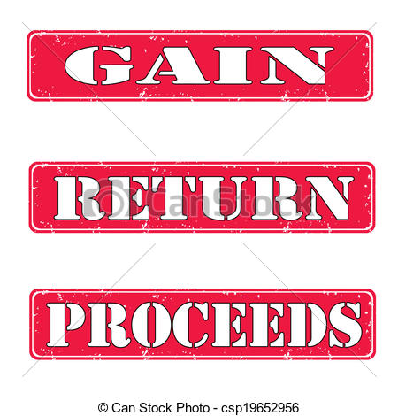 Clipart Vector of Gain, return, proceeds stamps.