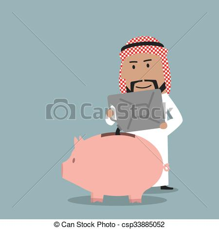 Clipart Vector of Businessman saving proceeds from oil sales.