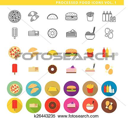 Clipart of Processed food icons 001. k26443235.