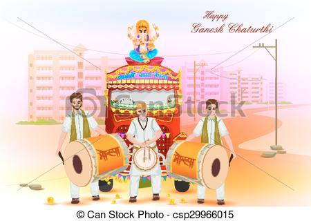Vector Clip Art of Lord Ganesha procession for Ganesh Chaturthi.