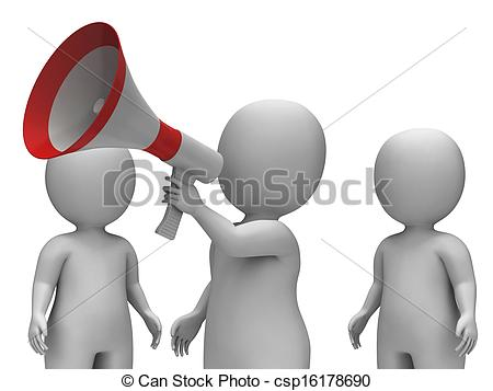 Stock Photographs of Loud Hailer Character Showing Proclamation.