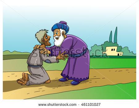 Parable Jesus Christ About Prodigal Son Stock Illustration.