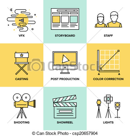 Vector Clipart of Films and post production flat icons.