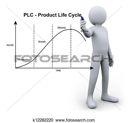 Stock Illustrations of 3d person writing product life cycle.