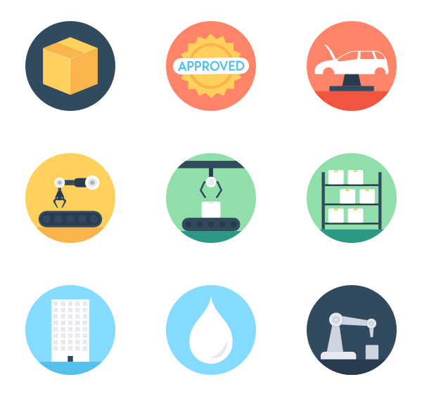 16 manufacturing industry color icon packs.