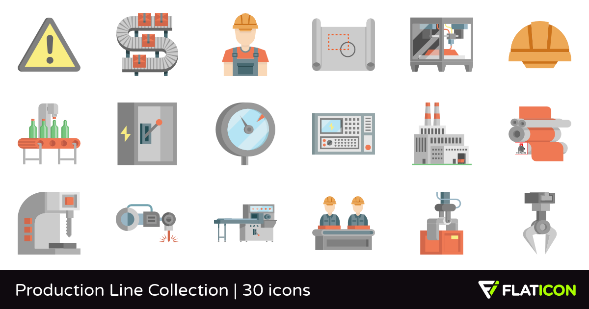 Production Line Collection 30 premium icons (SVG, EPS, PSD.