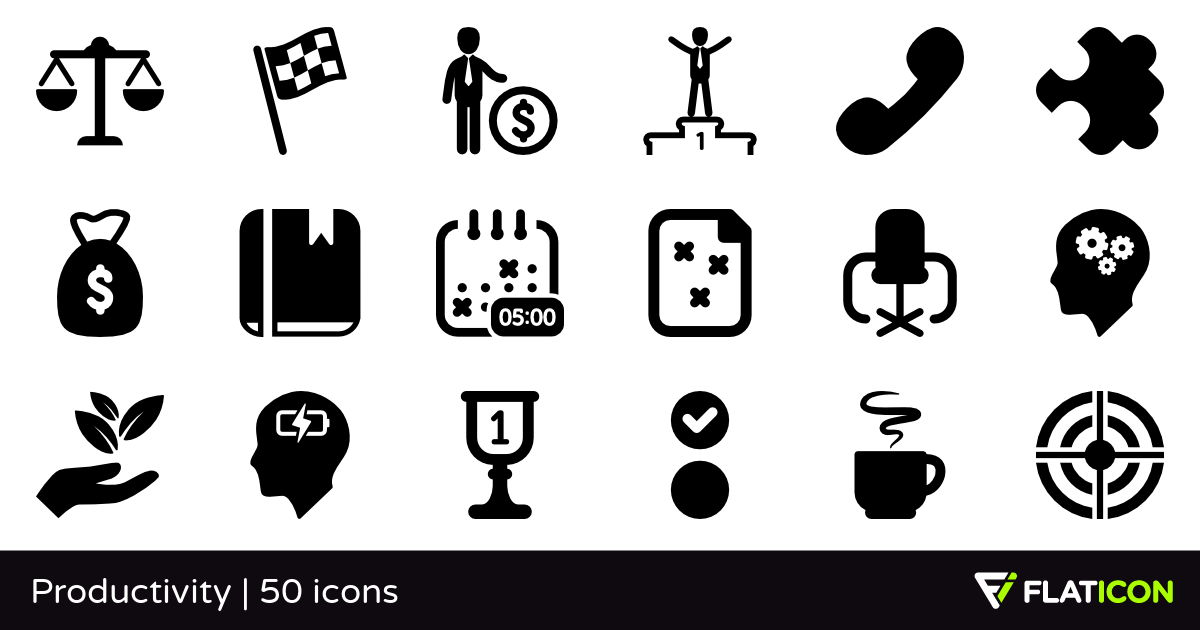 Productivity 50 premium icons (SVG, EPS, PSD, PNG files).