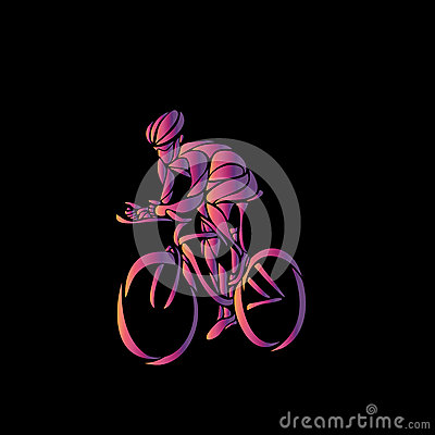 Cyclist In A Bike Race. Color Vector Clipart Stock Vector.