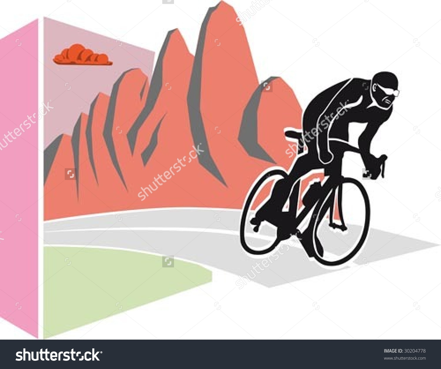 Professional Cyclist At Giro D'Italia Stock Vector Illustration.