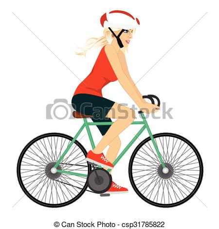 Vector Illustration of young professional cyclist woman.