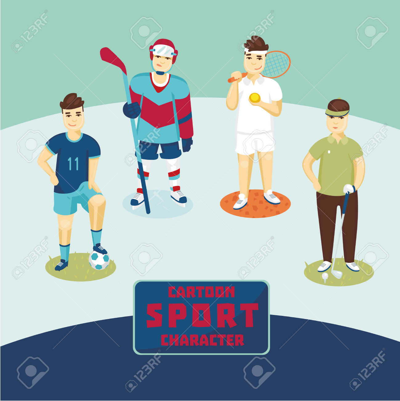 Professional Sport Players. Four Cartoon Characters. Golf, Tennis.
