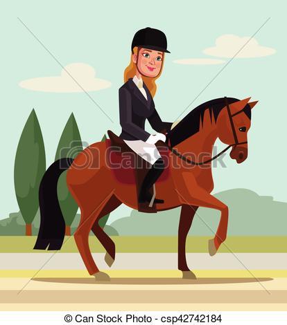 Vector of Girl character riding horse. Professional sport. Vector.