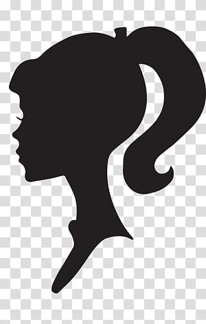 Female Silhouette Profile, Barbie logo transparent.