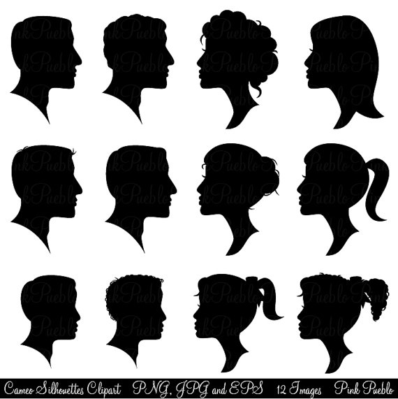 Art profiles of women and men clipart.