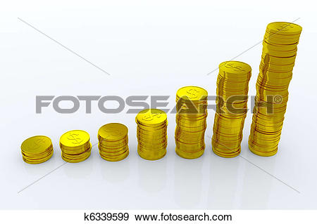 Stock Illustration of Coins showing profit and gain k6339599.