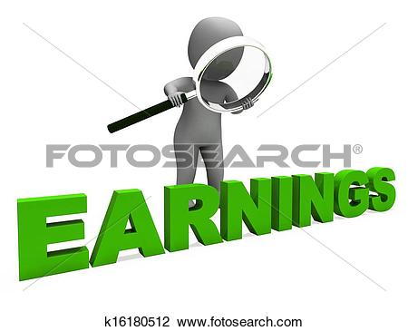 Clip Art of Earnings Character Shows Earning Revenue And.