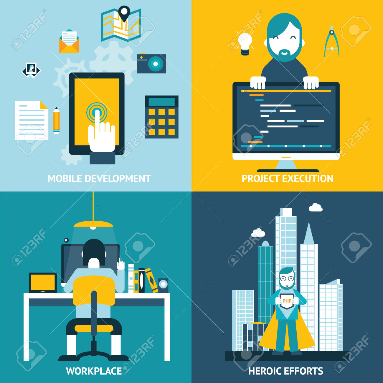 Web Development Studio Workplace Concept And Web Page Programming.