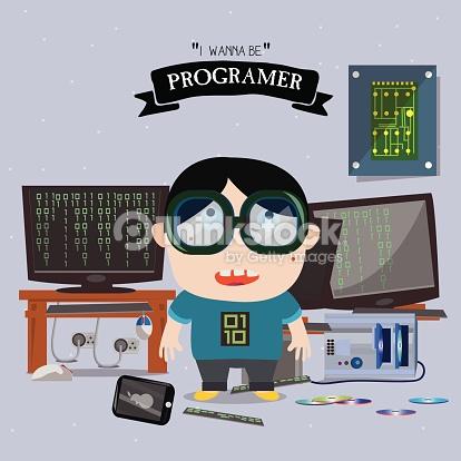 Programer Kid Character Vector Illustration Vector Art.