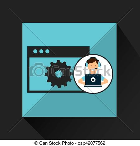 Clip Art Vector of character headset laptop programming web page.