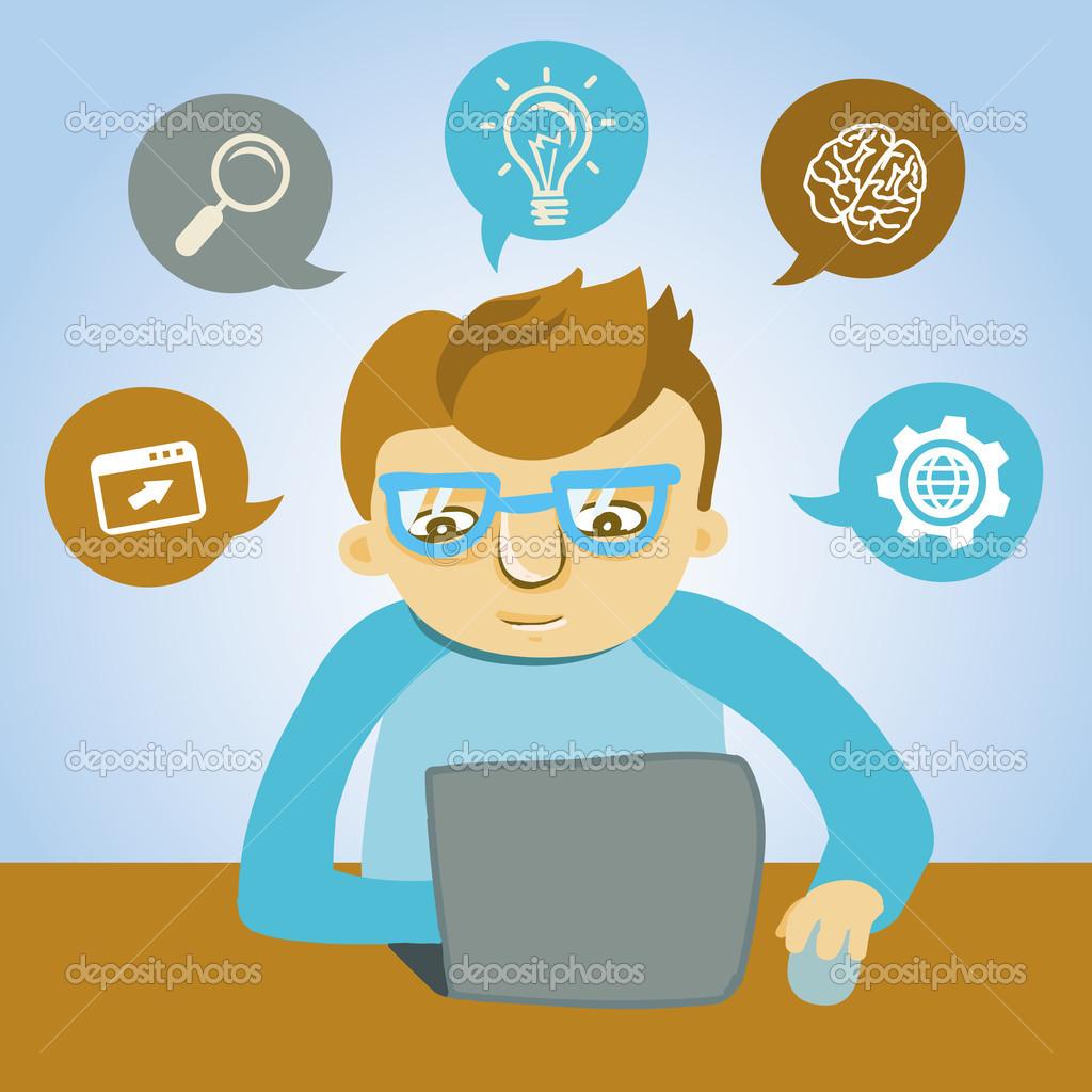Vector cartoon programmer — Stock Vector © venimo #25130267.
