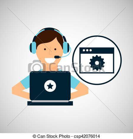 Vector Clip Art of character headset laptop programming web page.