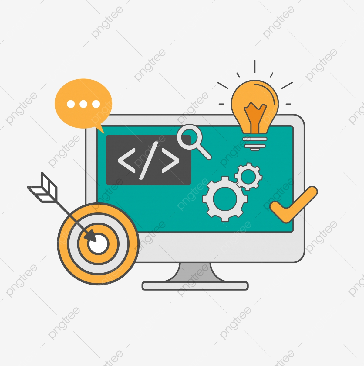 Programming And Web Technology Vector With Computer.
