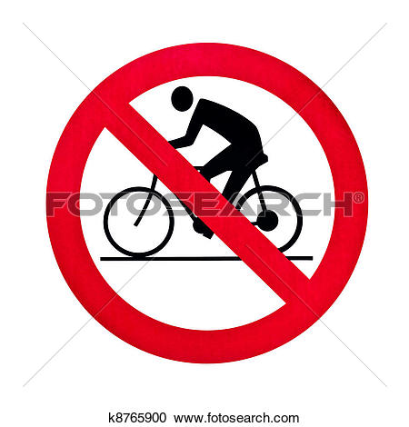 Stock Illustrations of prohibition bicycle warning sign isolated.