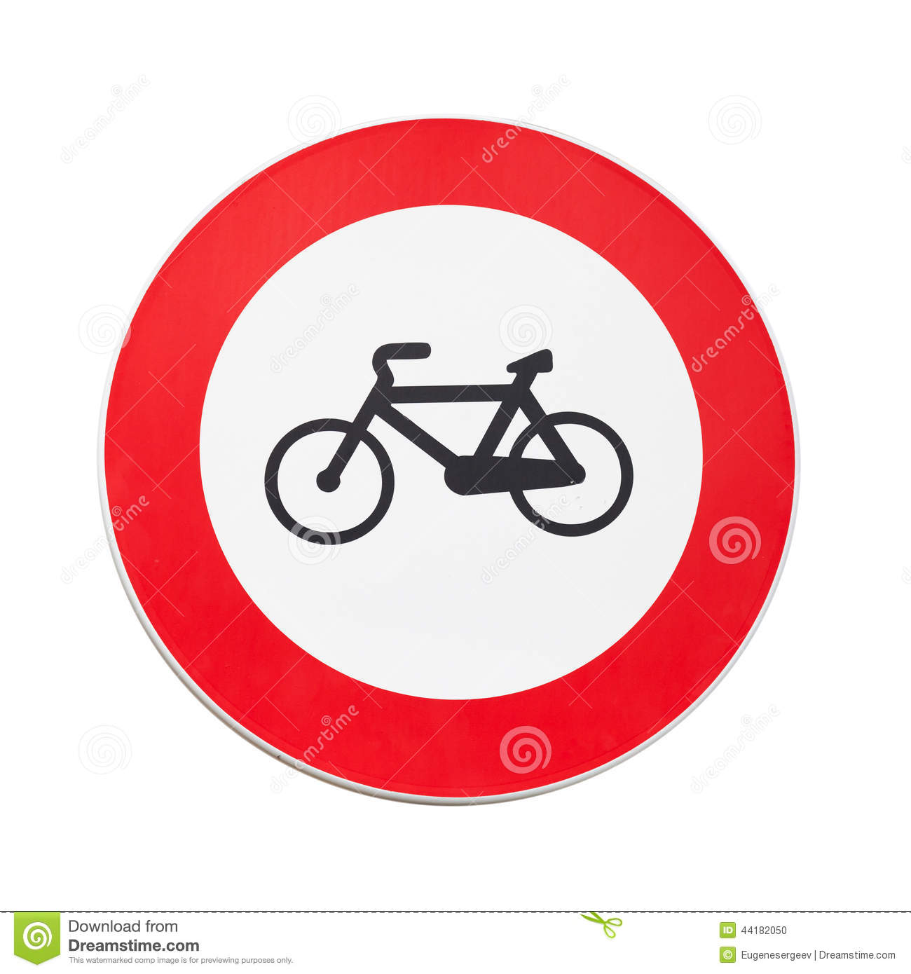 Bicycles Traffic Prohibited, Road Sign Isolated Stock Photo.